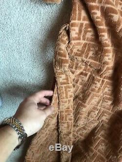 Vintage Fendi Italy Gold Robe Bathrobe Velour Monogram Rare Shirt Shoes Jacket