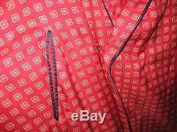 Vintage Men's Sulka 100% Pure Silk Red Geometric Lounge Bathrobe M/Lg 47 Long