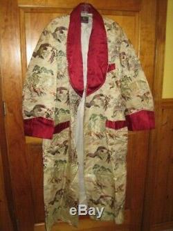 Vintage Mens Silk Japanese Kimono Smoking Jacket Bath Robe 1950's Halloween