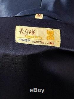 Vintage NOS Blue Satin Bathrobe Chinese Designs Swing Deco