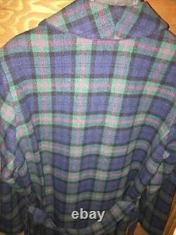 Vintage Pendleton 100% Virgin Wool Blue Green Red Plaid House Bath Robe M