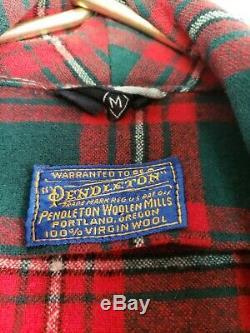 Vintage Pendleton Robe Plaid Wool Rare Tartan Red Green Size Medium