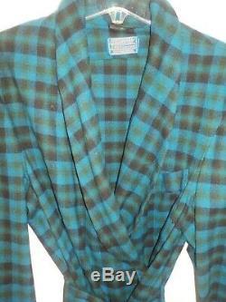 Vintage Pendleton Sleeping Bath Robe Blue Green Tartan Plaid Mens size LG Exc