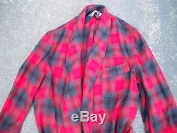 Vintage Pendleton Wool Robe Mens Size Medium Red Plaid Bathrobe Smoking Jacket