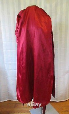 Vintage Satin Robe 1930s 1940s by Peerless Maroon Red Bathrobe Loungewear M 46