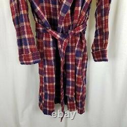 Vintage State O Maine Wool Tartan Plaid Bath Robe Tie Sash Belted Mens L 50s