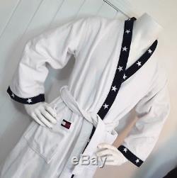 Vintage VTG Tommy Hilfiger Men's White Bath Robe Sz S Flag Stars