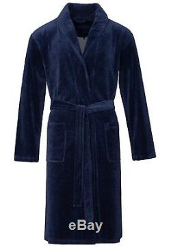 Vossen Men's Bathrobe Sauna Coat Dressing Gown Rossano Navy Blue