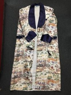 Vtg 40s 50s Japanese Souvenir Smoking Robe Jacket Mens L Silk Bathrobe Japan
