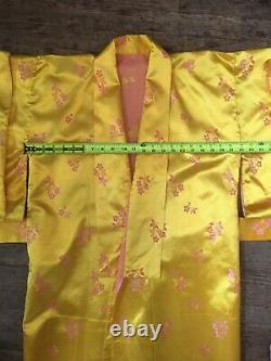 Vtg 40s 50s Japanese Souvenir Yellow Gold Silk Bath Robe Mens M-L Smoking Jacket