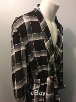 Vtg 50s 60s Penneys Rayon Shadow Plaid Bathrobe Mens L Smoking Robe Black Grey