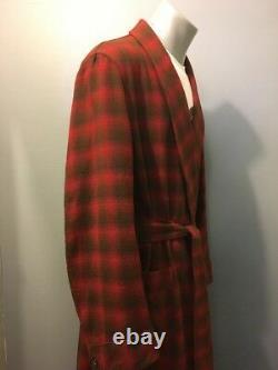 Vtg 60s 70s Pendleton Red Wool Robe Mens M Shadow Plaid Bathrobe Smoking Jacket