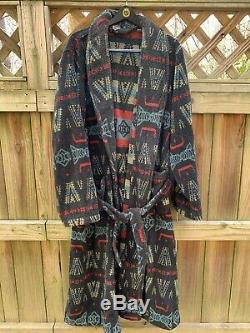 Vtg 90s Polo Ralph Lauren Sz L Aztec Print Shawl Collar Belted Robe Bathrobe