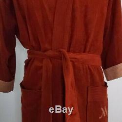 Vtg Marriott Hotels Bathrobe Mens One Size Brick Red Velour Tie Belt 50s 60s
