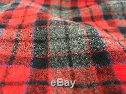 Vtg Pendleton Robe Plaid Virgin Wool Mens Med Tartan Bathrobe Red Gray