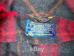 Vtg Pendleton Wool Robe Men's Size Medium Red Plaid Bathrobe Smoking Jacket