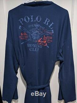 Vtg Polo Ralph Lauren Navy Blue Bathrobe Robe L/XL Rowing Club Oars Back Print
