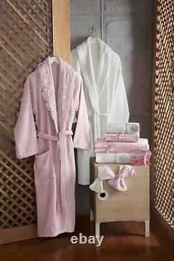 Women/Men 10 Pcs Set For 2 with Pearls & Lace Towels Bathrobe Luxury 100% Cotton