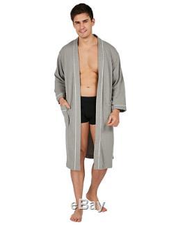 YIMANIE Men's Waffle-Weave Kimono Robe Cotton Spa Bathrobe Lightweight Soft Knee