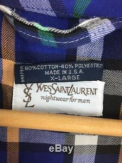 YSL Saint Laurent Robe Mens XL Plaid Made in USA Cotton Blend Bathrobe PP8