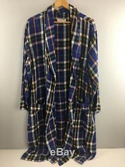 YSL Saint Laurent Robe Mens XL Plaid Made in USA Cotton Blend Nightwear Bathrobe