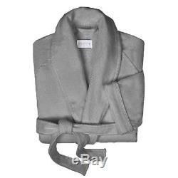 Y-042954 New Frette Velour Cotton Shawl Collar Gray Bathrobe Size L