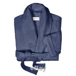 Y-042954 New Frette Velour Cotton Shawl Collar Navy Blue Bathrobe Size L
