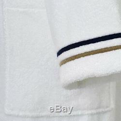 Yves Delorme Escale Man's Kimono/bathrobe With Navy & Beige Embroidery